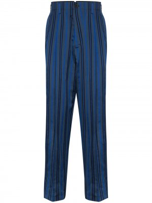 Полосатые брюки строгого кроя Haider Ackermann. Цвет: синий