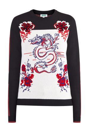Джемпер «Dragon» с жаккардовой вышивкой японскими мотивами KENZO. Цвет: мульти