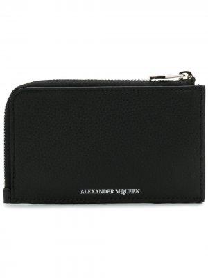 Футляр для карт и монет на молнии Alexander McQueen. Цвет: черный