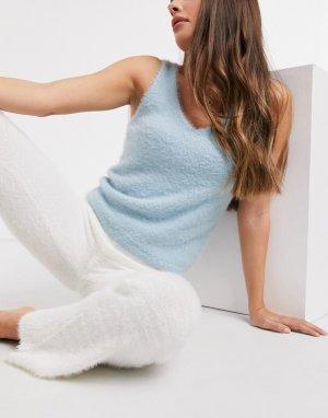 Пушистая голубая майка для отдыха от комплекта -Синий New Look
