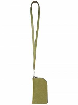 Кошелек с ланъярдом Rick Owens. Цвет: зеленый