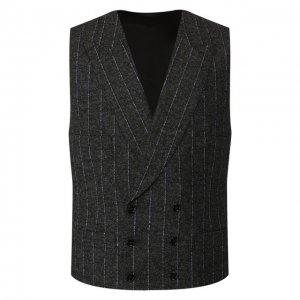 Жилет из смеси шерсти и хлопка Dolce & Gabbana. Цвет: серый