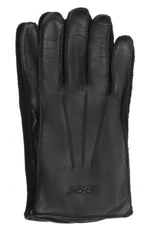 Кожаные перчатки Ermenegildo Zegna. Цвет: чёрный