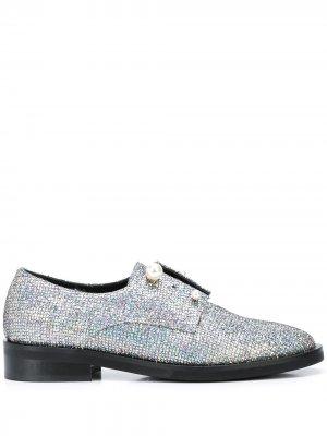 Туфли дерби Fernanda с блестками Coliac. Цвет: серебристый