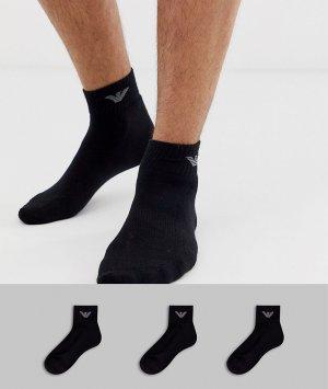 Набор из 3 пар черных спортивных носков -Черный Emporio Armani