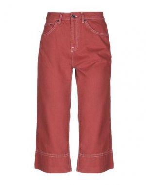Джинсовые брюки-капри TOPSHOP. Цвет: ржаво-коричневый
