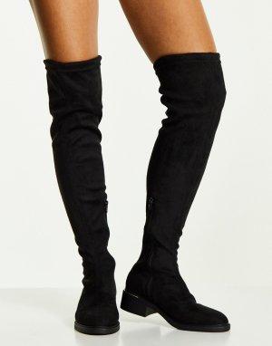 Черные эластичные ботфорты на среднем каблуке -Черный цвет Truffle Collection