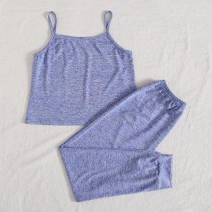 Пижама для девочек SHEIN. Цвет: синий
