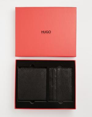 Складной кожаный бумажник и визитница в подарочной упаковке Hugo Boss. Цвет: черный