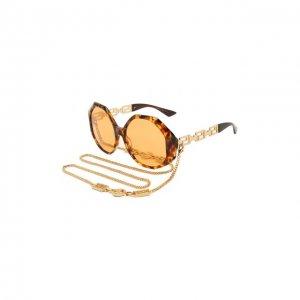 Солнцезащитные очки и цепочка Versace. Цвет: коричневый