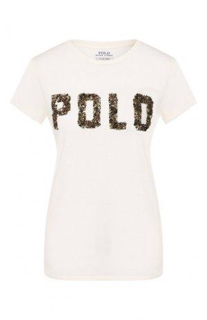 Хлопковая футболка Polo Ralph Lauren. Цвет: белый