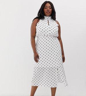 Платье в горошек с высоким воротом -Черный Glamorous Curve
