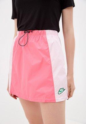 Юбка Nike W NSW ICN CLSH SKIRT WVN. Цвет: розовый