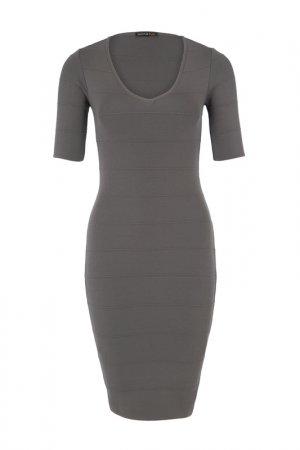 Трикотажное платье Apart. Цвет: серый