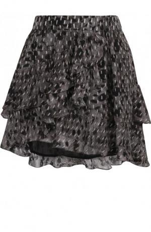 Мини-юбка из вискозы с оборками Iro. Цвет: серый