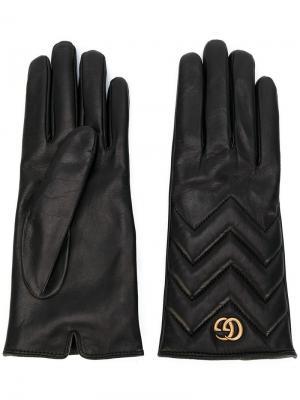 Перчатки с шевронным узором GG Marmont Gucci. Цвет: черный