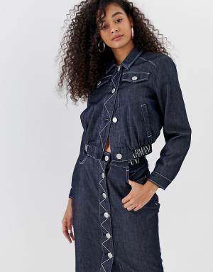 Короткая джинсовая куртка с логотипом -Синий Emporio Armani