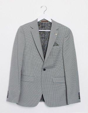 Коричневый приталенный пиджак с принтом гусиная лапка Burton Menswear