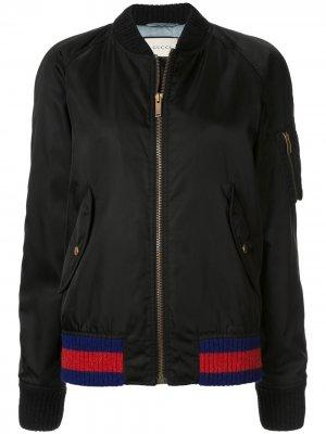 Куртка-бомбер с вышивкой Gucci Pre-Owned. Цвет: черный