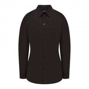 Хлопковая рубашка Bottega Veneta. Цвет: коричневый