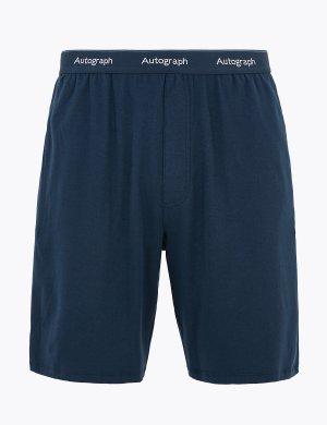 Пижамные шорты из хлопка Supima Autograph. Цвет: темно-синий