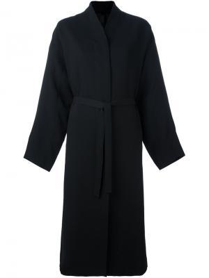 Пальто с потайной застежкой и поясом Ilaria Nistri. Цвет: чёрный
