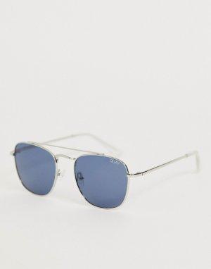 Круглые солнцезащитные очки в серебристой оправе helios-Серебряный Quay Australia