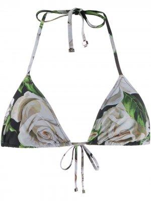 Лиф бикини с цветочным принтом Dolce & Gabbana. Цвет: черный