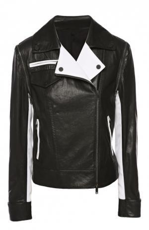 Куртка кожаная DKNY. Цвет: черный