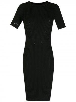 Платье кроя слим Armani Exchange. Цвет: черный