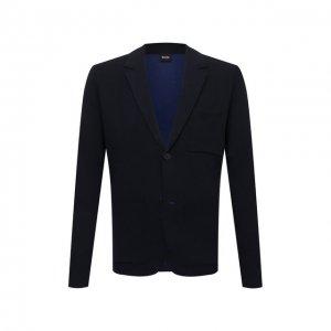 Пиджак из хлопка и шерсти BOSS. Цвет: синий