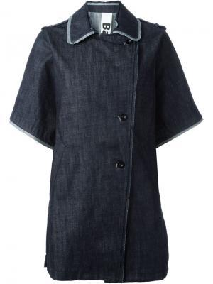 Джинсовое пальто с короткими рукавами Bark. Цвет: синий