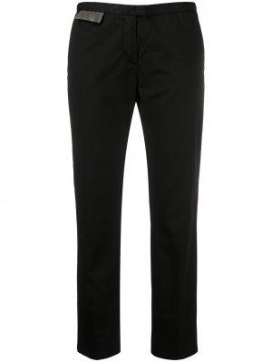 Укороченные брюки чинос с вышивкой бисером Fabiana Filippi. Цвет: черный
