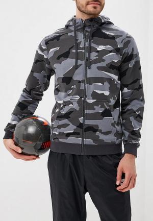 Толстовка Nike SPORTSWEAR MENS CAMO FULL-ZIP HOODIE. Цвет: серый