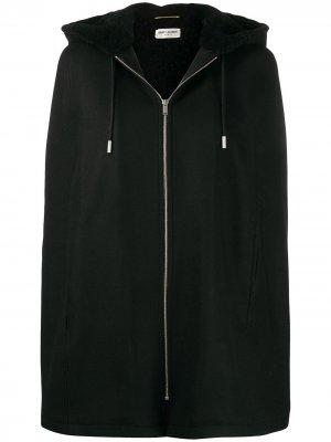 Куртка-кейп с капюшоном Saint Laurent. Цвет: черный