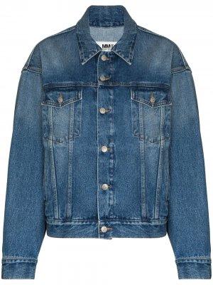 Джинсовая куртка на пуговицах MM6 Maison Margiela. Цвет: синий