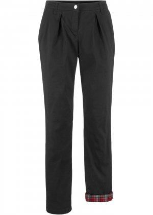 Утеплённые брюки-чиносы bonprix. Цвет: черный