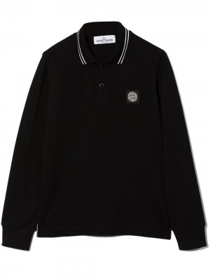 Рубашка поло с контрастной окантовкой и логотипом Stone Island Junior. Цвет: черный