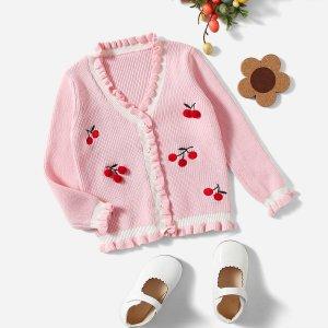 Оборка Пуговица Фрукты и овощи Повседневный Кардиганы для девочек SHEIN. Цвет: розовые