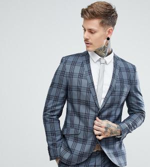 Облегающий пиджак в клетку -Серый Heart & Dagger