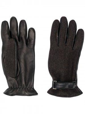 Перчатки с контрастной отделкой Ermenegildo Zegna. Цвет: черный