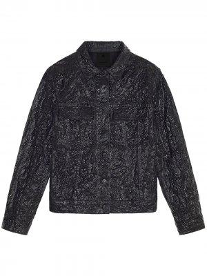 Джинсовая куртка с жатым эффектом Givenchy. Цвет: черный