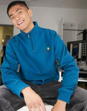 Синий свитер с короткой молнией и надписью Carhartt WIP