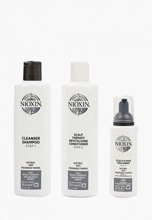 Набор для ухода за волосами Nioxin система 2: шампунь (300 мл), кондиционер маска (100 мл). Цвет: прозрачный