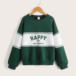 Для девочек Пуловер с текстовым принтом контрастный SHEIN. Цвет: многоцветный