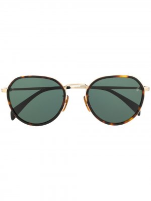 Солнцезащитные очки в круглой оправе черепаховой расцветки Eyewear by David Beckham. Цвет: черный