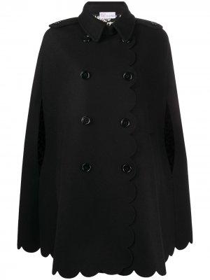 Двубортное пальто-кейп с фестонами RedValentino. Цвет: черный