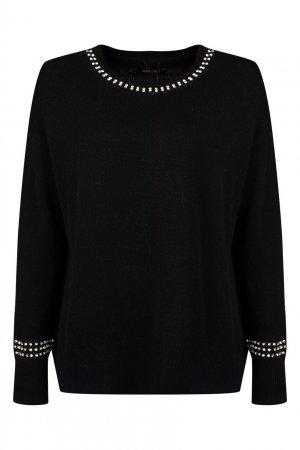 Черный пуловер с кристаллами Max & Moi. Цвет: черный