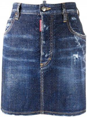 Джинсовая юбка с кристаллами Dsquared2. Цвет: синий