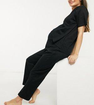 Трикотажные комбинируемые пижамные штаны черного цвета с прямыми штанинами ASOS DESIGN Maternity-Черный Maternity